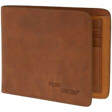 Access Denied Mens RFID Blocking Bifold Leather Wallet Slim Two Tone Nubuck