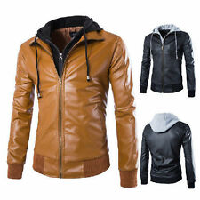 BRANDO Slim Fit Hooded Men's Black Motorcycle PU Leather Jacket Coat New