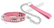 PINK LEATHER DOG COLLAR CHROME CHAIN LEAD HEAVY STAFFORDSHIRE BULL TERRIER STAFF