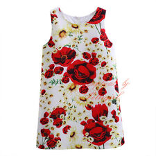 Baby Kids Red Flower Girls Toddler Princess Birthday Summer Holiday Floral Dress