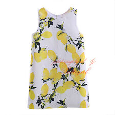 Toddler Girl Tank Dress Lemon Pattern Kids Dresses Baby Summer Girls Clothing