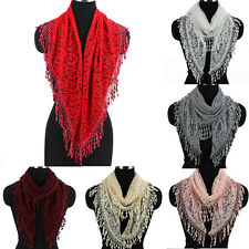 Fashion Womens Paisley Floral Crochet Lace Tassel Solid Color Triangle Scarf New