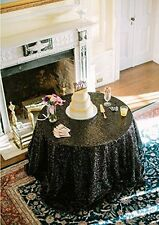 Black Sequin Tablecloth Round--Choose your Sizes (60Inch - 196Inch)