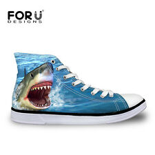 Animal Shark Womens Girls Lace-up High Top Shoes Sneakers Casual Canvas Shoes