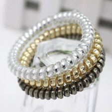 Fashion Women Girl Gold/Silver Elastic Telephone Wire Hair Bands Ponytail Holder