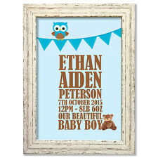 Baby (Boy) Bunting flag Personalised Print (choice of frames available) #11