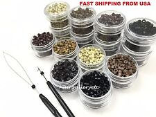 1,250 Silicone Micro Rings Beads Feather fusion i tip Hair Extensions tool kit