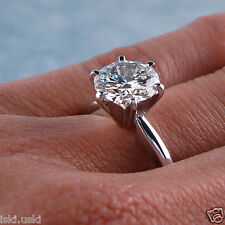 3.50 CT ROUND D/VVS1 DIAMOND SOLITAIRE ENGAGEMENT RING HALLMARKED 14K WHITE GOLD