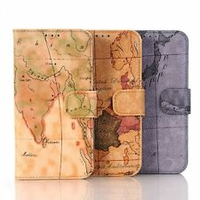 WLD Map Pattern Wallet Leather Housing Case Cover Skin For Samsung Galaxy S7 NEW