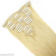 7PCS Full Head Clip In Remy Real Human Hair Extensions Straight Light Blonde