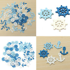 50pcs Mini Wood Crown Boat Anchor  Helm Sail Wheel Nautical Craft Scrapbook DIY