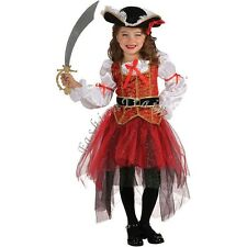 Pirate Fancy Costume Cosplay Dress Up Hat Suit Set Kids Girls Party Outfit 2-10Y
