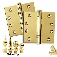 Door Hinges 4 x 4, Extruded Solid Brass, Ball Bearing, Polished Brass - Set of 2