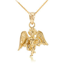 Solid 14k Gold Guardian Angel Charm Pendant Necklace