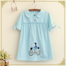 Summer Sweet Lolita Dolly Preppy Look Kawaii Short Sleeve Embroidery Blouse Tops