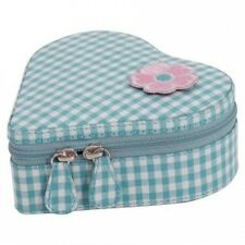 Willow Heart Zip Jewellery Case - Gingham Pattern. Free Delivery