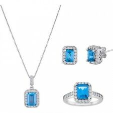 Simulated Blue Topaz 3-Piece Silvertone 3-Piece Earrings, Pendant and Ring Boxed