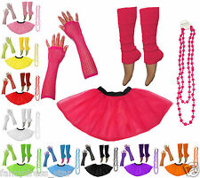 NEW HEN PARTY 1980s NEON UV TUTU FISHNET SEXY SKIRT GLOVES LEG WARMER & BEADS