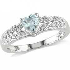 1/3 Carat T.G.W. Aquamarine and Diamond-Accent Sterling Silver Heart Ring. Shipp