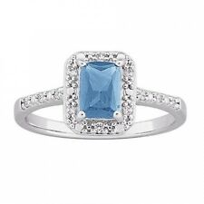 1.25 Carat T.G.W. Blue Topaz and CZ Sterling Silver Ring. Free Shipping