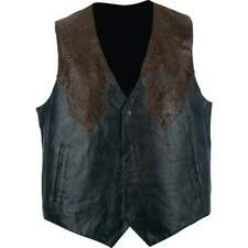 Mens Black LEATHER Western Style VEST & Brown Faux Snakeskin Lined Southwestern