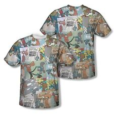 ROCKY & BULLWINKLE COLLAGE Licensed Sublimation Men's Tee Shirt SM-3XL F/B