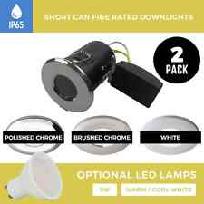 2 X IP65 SHORT CAN FIRE RATED SPOTLIGHTS LED BATHROOM / SHOWER DOWNLIGHTS GU10