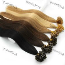"""18"""" 100S U/Nail Kertain Tip Pre Bonded Straight Remy Human Hair Extensions 0.5g"""