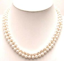 "SALE AA 6-7MM Round NATURAL WHITE FW Pearl 17-18"" two strings NECKLACE- nec5421"