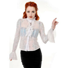 Banned Shirts Womens Steampunk White Lace Shirt Victorian Gothic Clothing Top