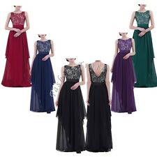 Women Sexy Long Lace Bridesmaids Formal Cocktail Evening Wedding Gown Prom Dress