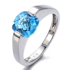 Cushion-Cut 7mm Swiss Blue Topaz Solid Sterling Silver 925 Solitaire Ring