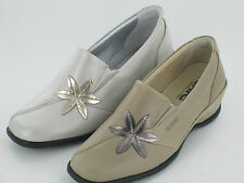 Ladies Suave Beige/Gold Leather Shoes Sheila