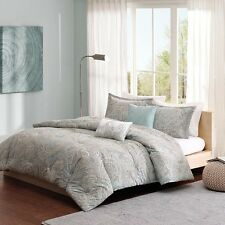 Beautiful Cotton Soft Blue / Grey Paisley Comforter 5 pc Set Cal King Full Queen