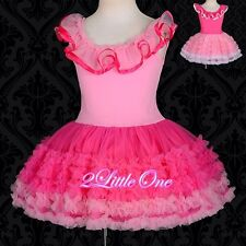 Girl Ruffles Pettidress Petti Dress Tutu Pettiskirt Party Pageant Size 2T-9 #106