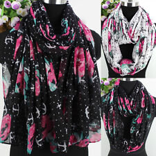 Floral Scarf Flower&Dot&Anchor Hook Print Womens Scarf Long Scarf/Infinity Scarf