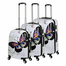 "20/24/28"" Universal Wheel White Butterfly Travel Suitcase Cabin Luggage TSA Lock"