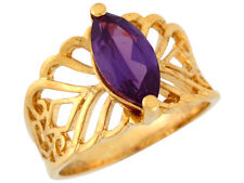 10k / 14k Yellow Gold Marquise Cut Simulated Amethyst Filigree Band Ladies Ring