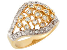10k / 14k Two-Tone Gold White CZ Pave Set Wide Band Antique Inspired Ladies Ring