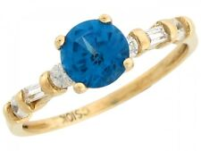 10k / 14k Gold White CZ & Simulated Blue Zircon December Birthstone Ring