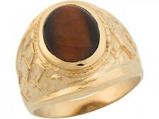 10k / 14k Yellow Gold Synthetic Tigers Eye Grand Nugget Band Mens Ring