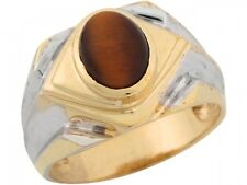 10k / 14k Two Tone Real Gold Synthetic Tigers Eye Ornate Majestic Mens Ring