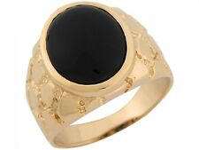 10k / 14k Yellow Gold Onyx Nugget Inspired Band Mens Ring