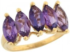 10k / 14k Solid Yellow Gold Multiple Amethyst Lovely Luxurious Ladies Ring