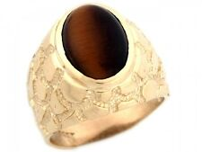 10k / 14k Solid Yellow Gold Synthetic Tiger Eye Nugget Band Mans Ring