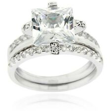Icz Stonez Sterling Silver Cubic Zirconia Bridal Ring Set. Free Delivery