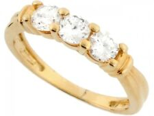 10k / 14k Real Solid Gold 4mm Round Sparkling CZ 3 Stone Anniversary Ring