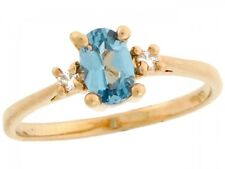 10k / 14k Real Gold Oval Simulated Blue Zircon December Birthstone CZ Ring