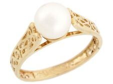 10k / 14k Solid Gold Freshwater Cultured Pearl Filigree Solitaire Ring Jewelry