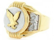 10k / 14k Two Tone Gold Eagle Round Fancy Unique Mens Ring